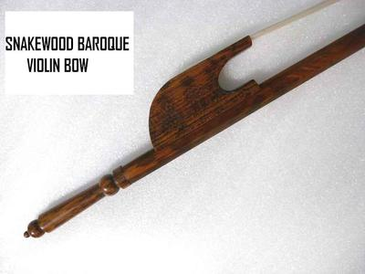 BAROQUE VIOLIN BOW, PURE SNAKEWOOD, 4/4 FULL SIZE, PROF BALANCE, UK SELLER!